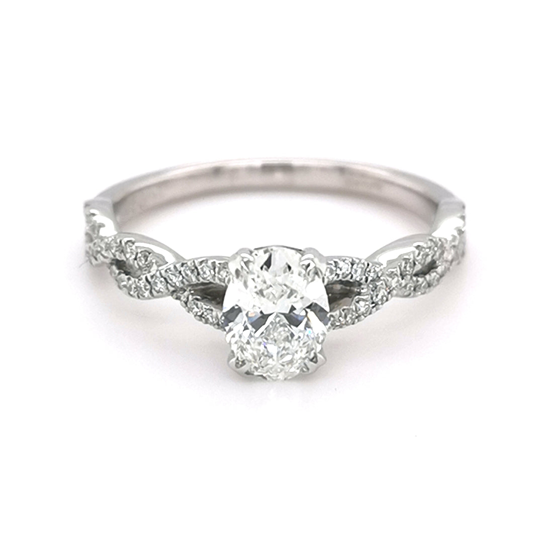 18ct White Gold Oval  Diamond Ring - Sonny's Jewellers