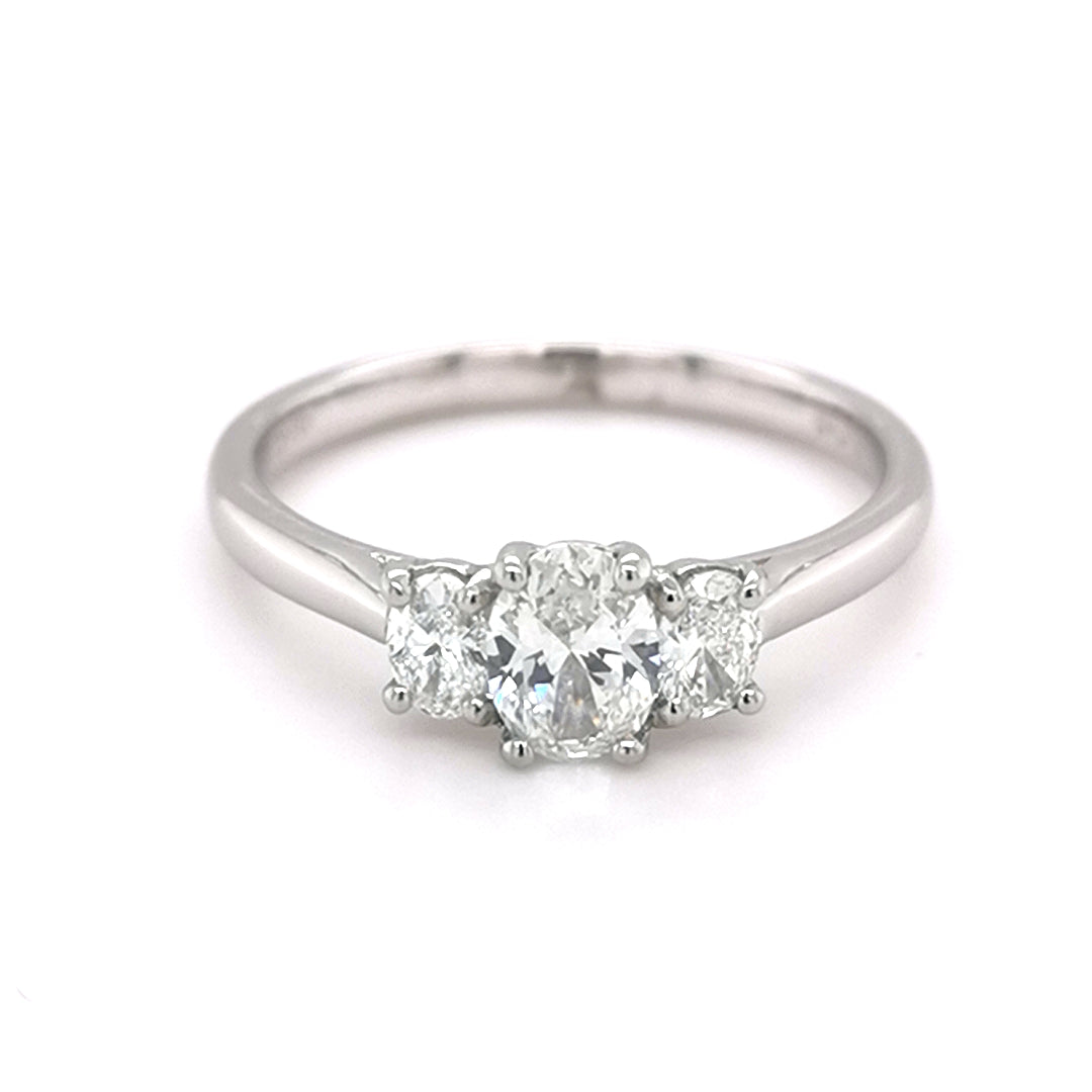 Platinum 0.93ct Diamond Trilogy Style Ring