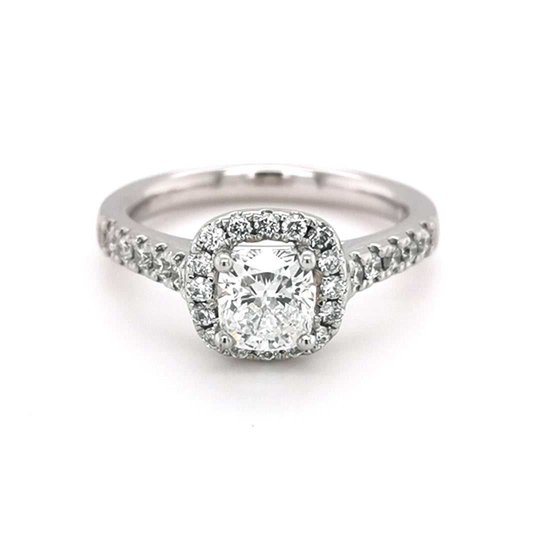 Platinum 1.05ct Diamond Halo Style Ring