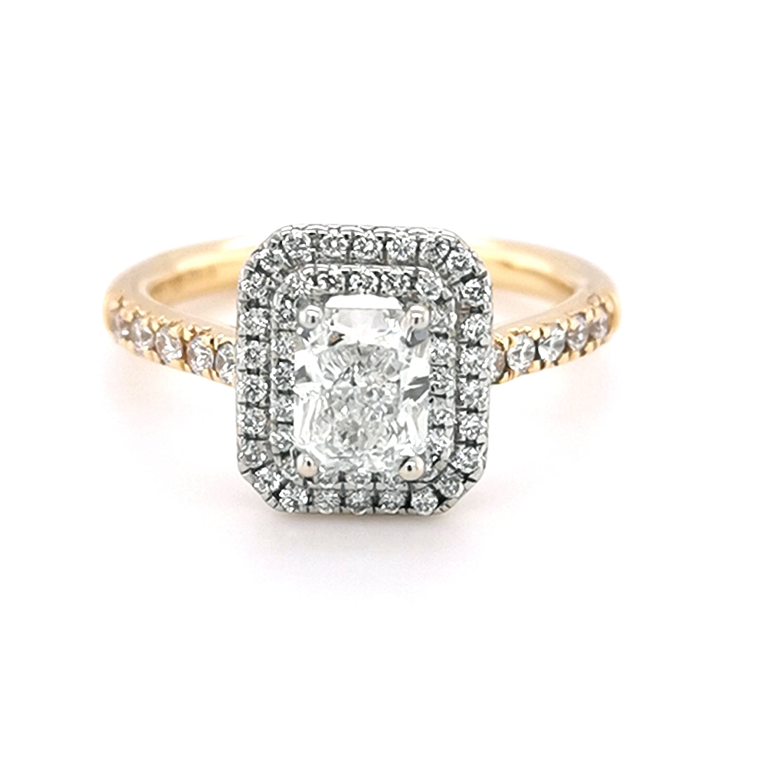18ct Yellow and White Gold 1.12ct Diamond Double Halo Ring