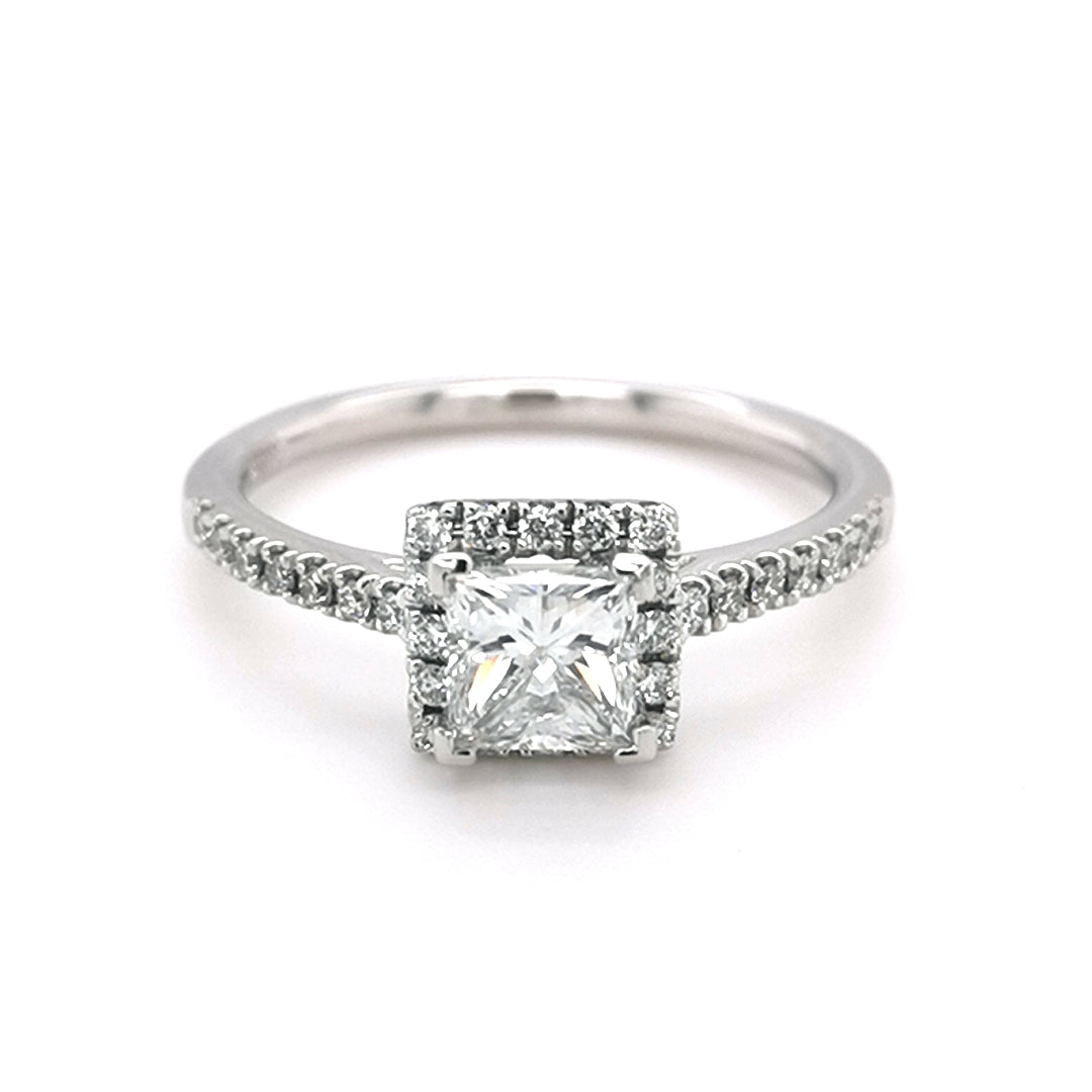Platinum 0.99ct Diamond Halo Style Ring