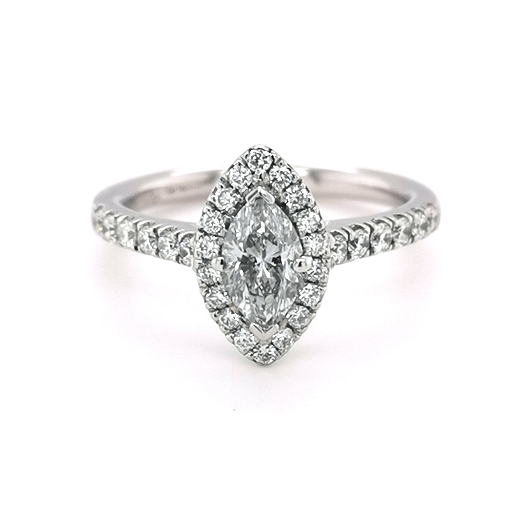 Platinum 0.94ct Diamod Halo Style Ring