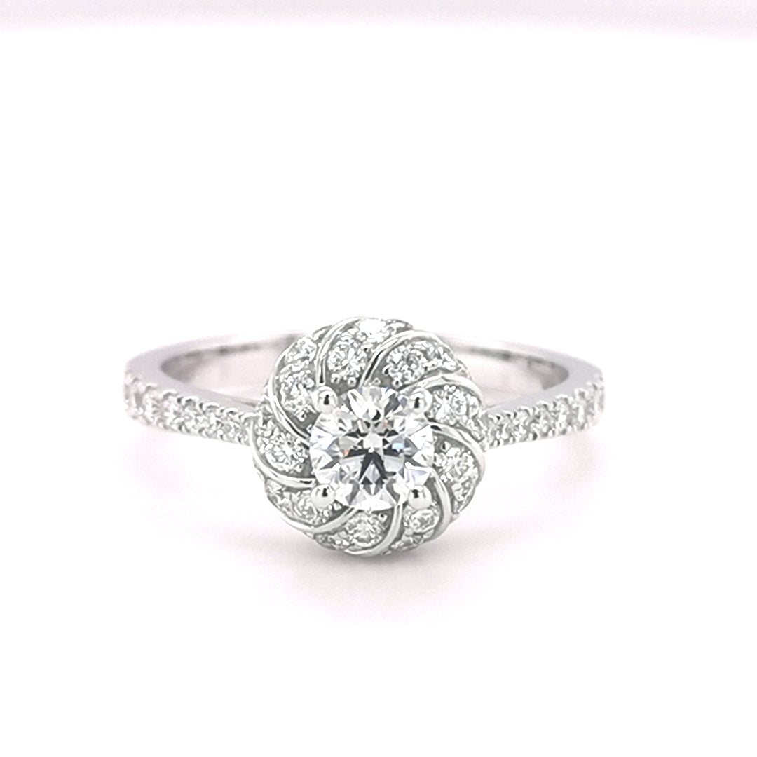 18ct White Gold Round Brilliant Cut 1.06ct Diamond Halo Ring