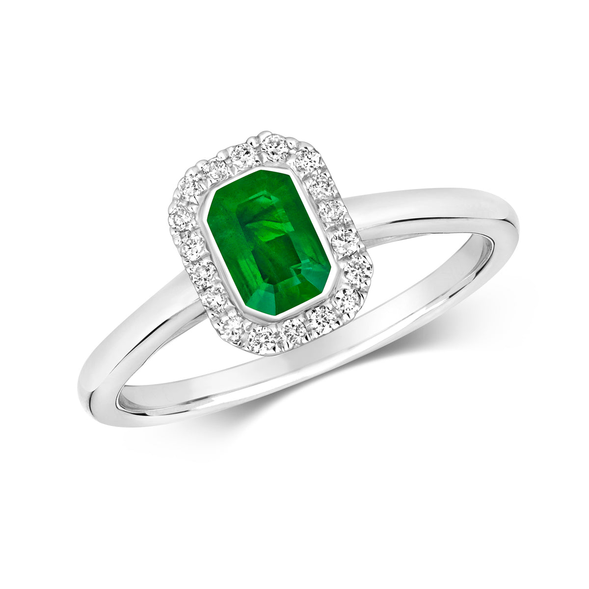 9ct White Gold Emerald and Diamond Ring