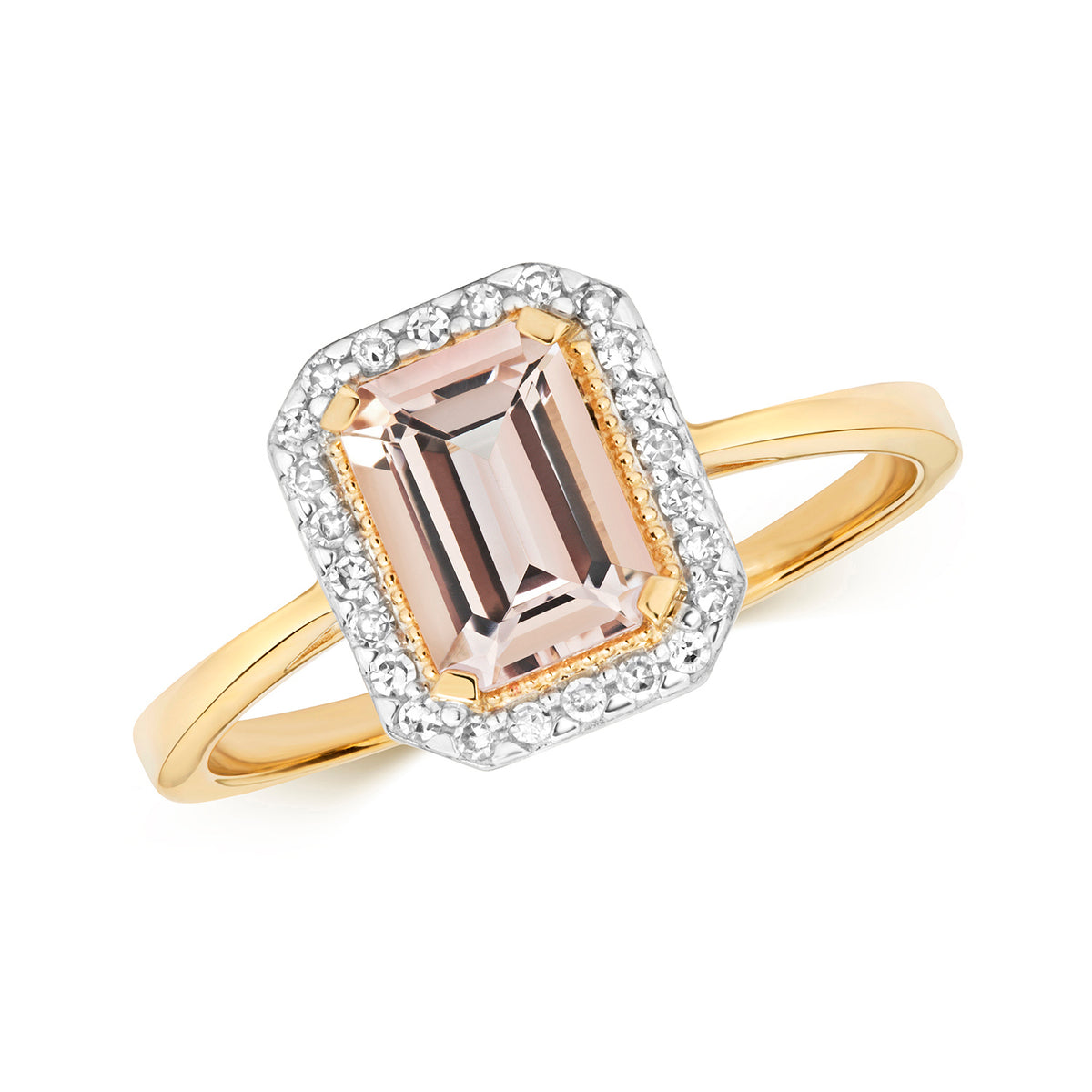 9ct  Yellow Gold Morganite and Diamond Ring