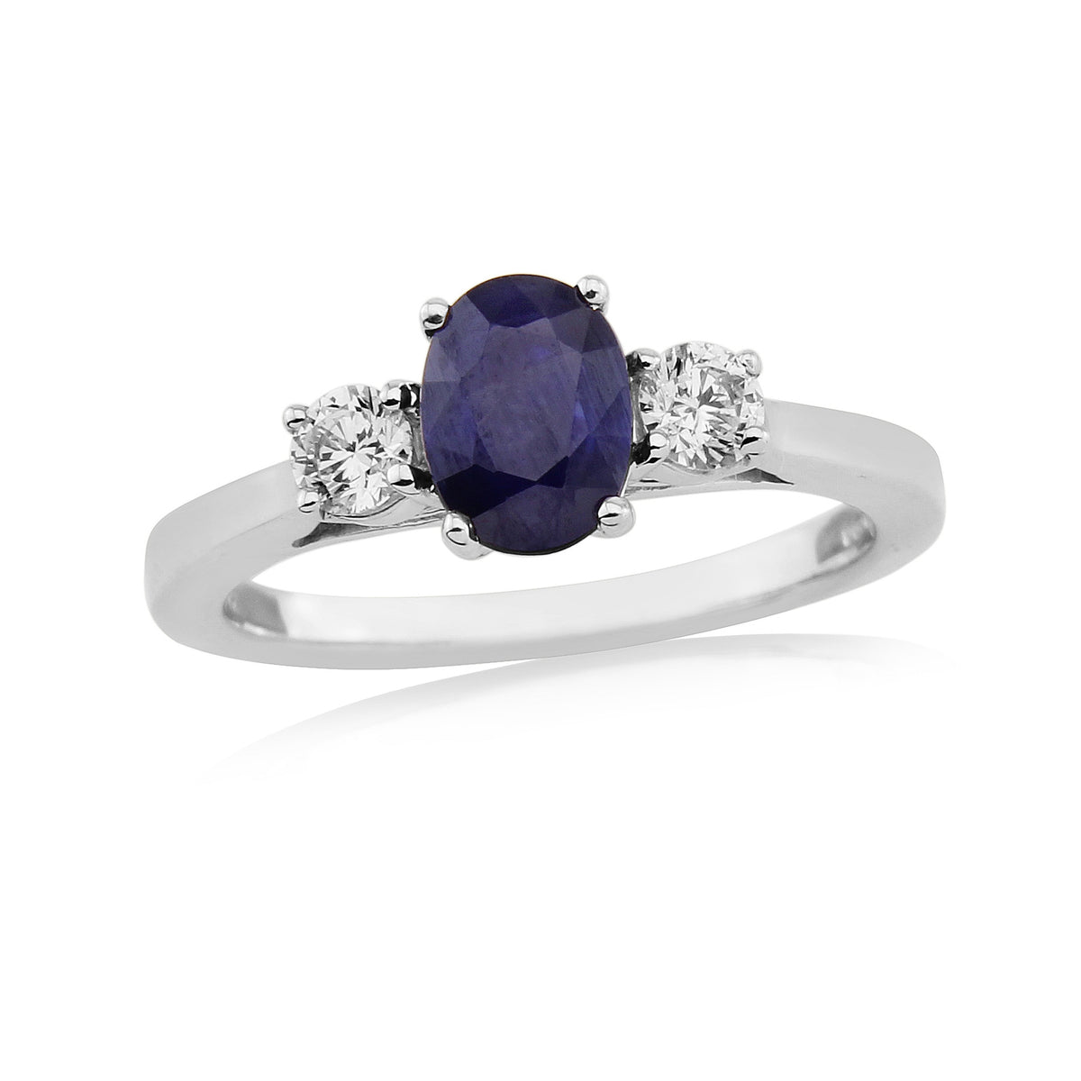 9ct White Gold  Sapphire and Diamond Trilogy Ring