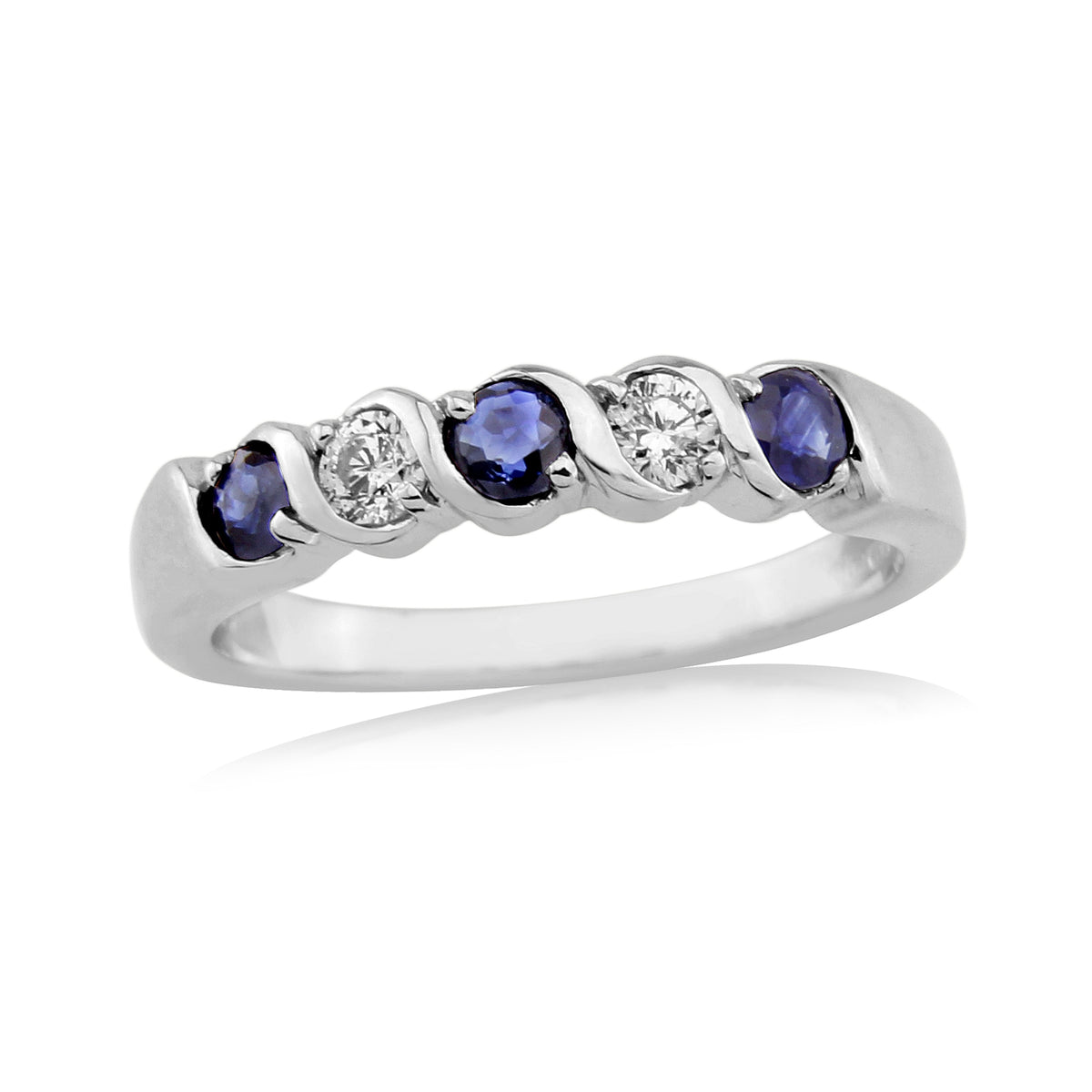 9ct White Gold Diamond and Sapphire Five Stone Ring