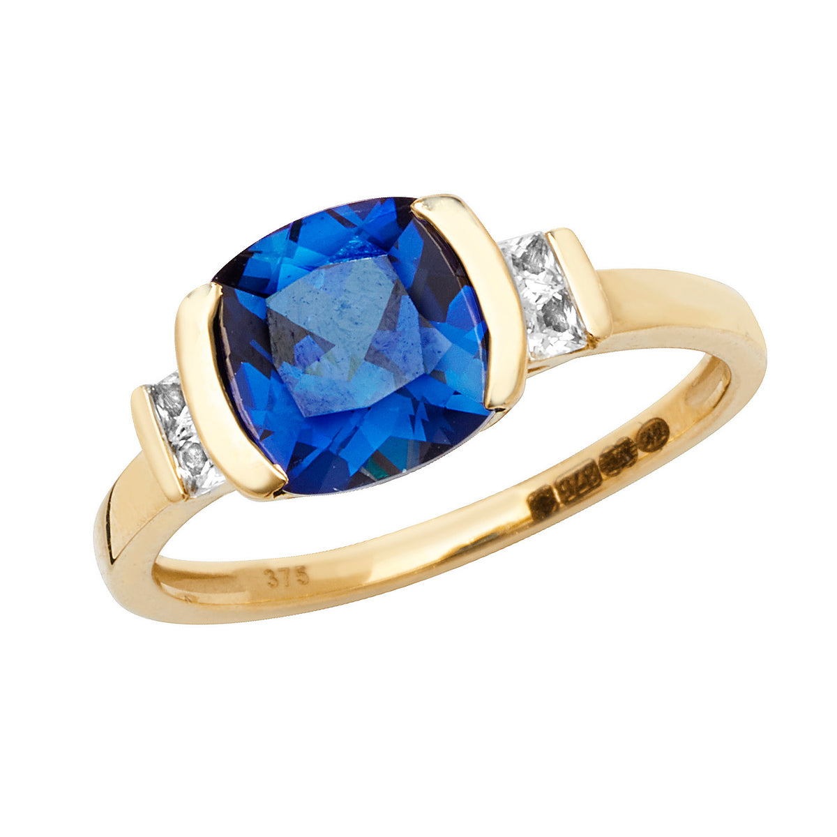 9ct Yellow Gold Synthetic Blue Sapphire Ring
