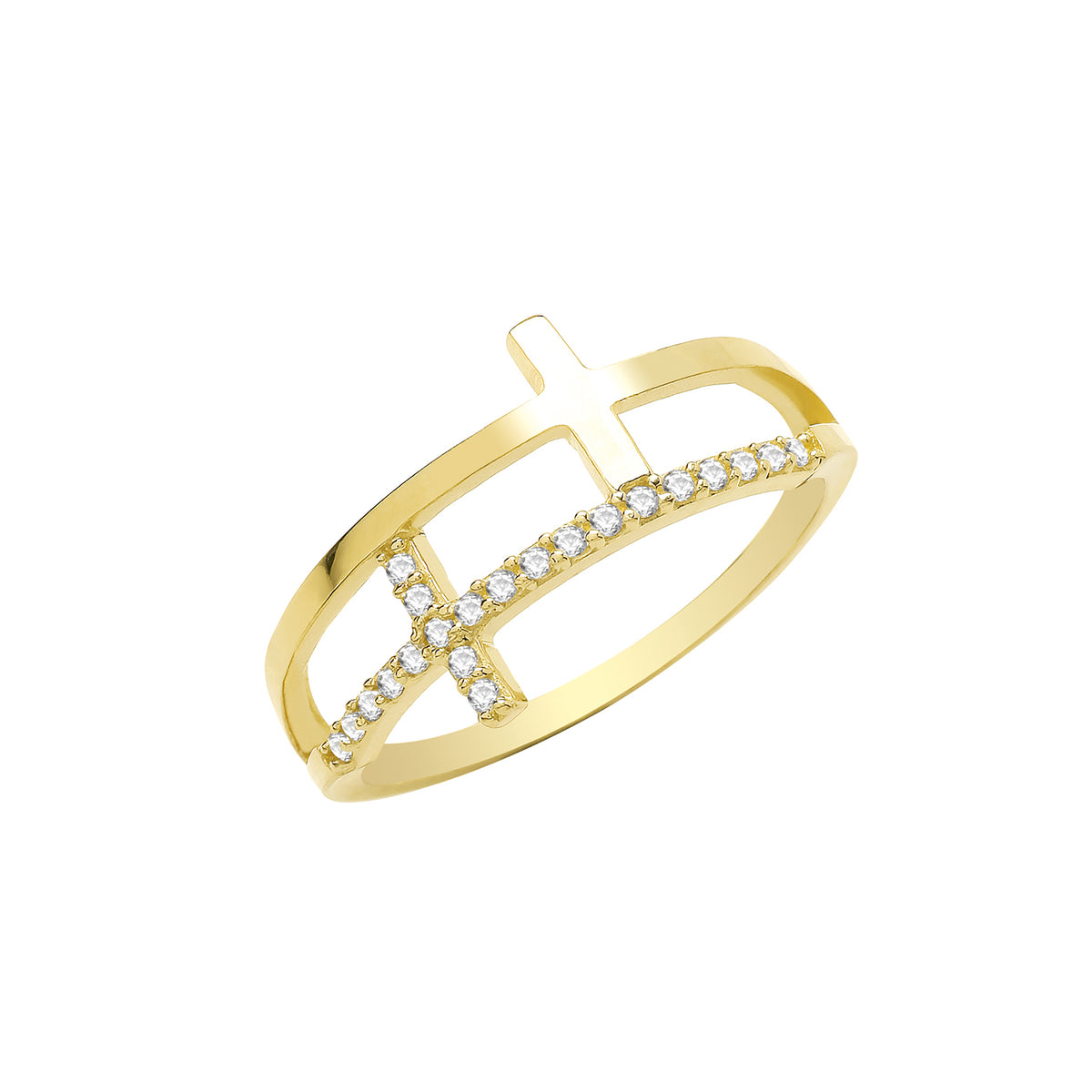 9ct Yellow Gold CZ Cross Ring