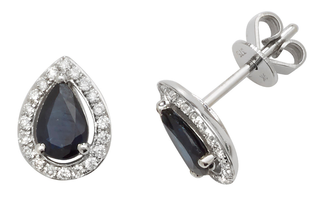 9ct White Gold Sapphire and Diamond Earrings