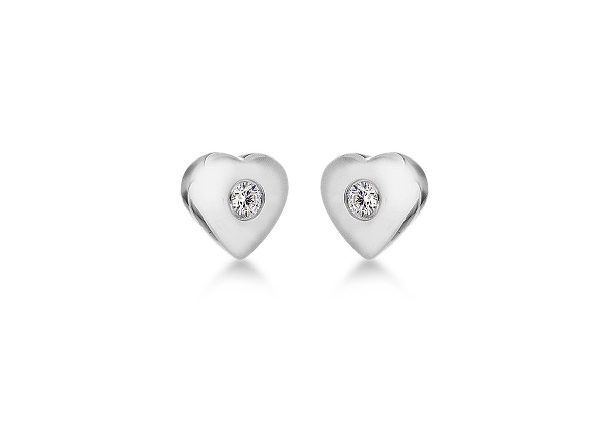Sterling Silver Lily and Lotty Heart diamond Earrings