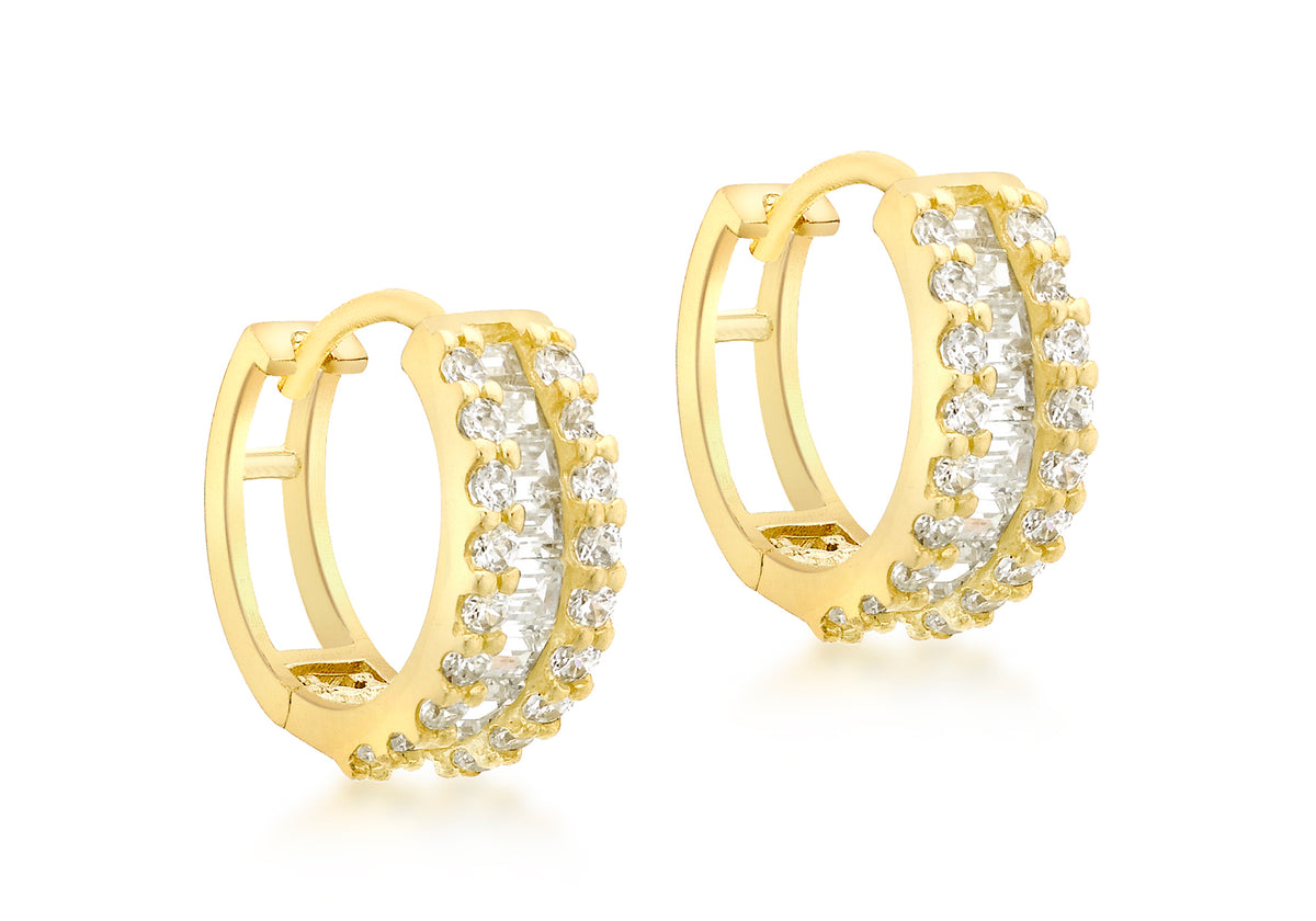 9ct Yelllow Gold Cubic Zirconia set Huggy Earrings