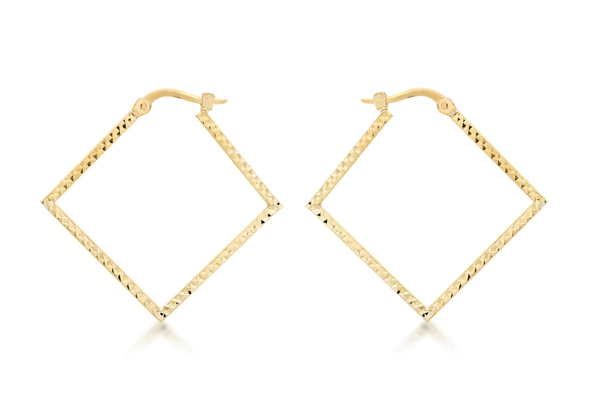 9ct Yellow Gold Square Hoops