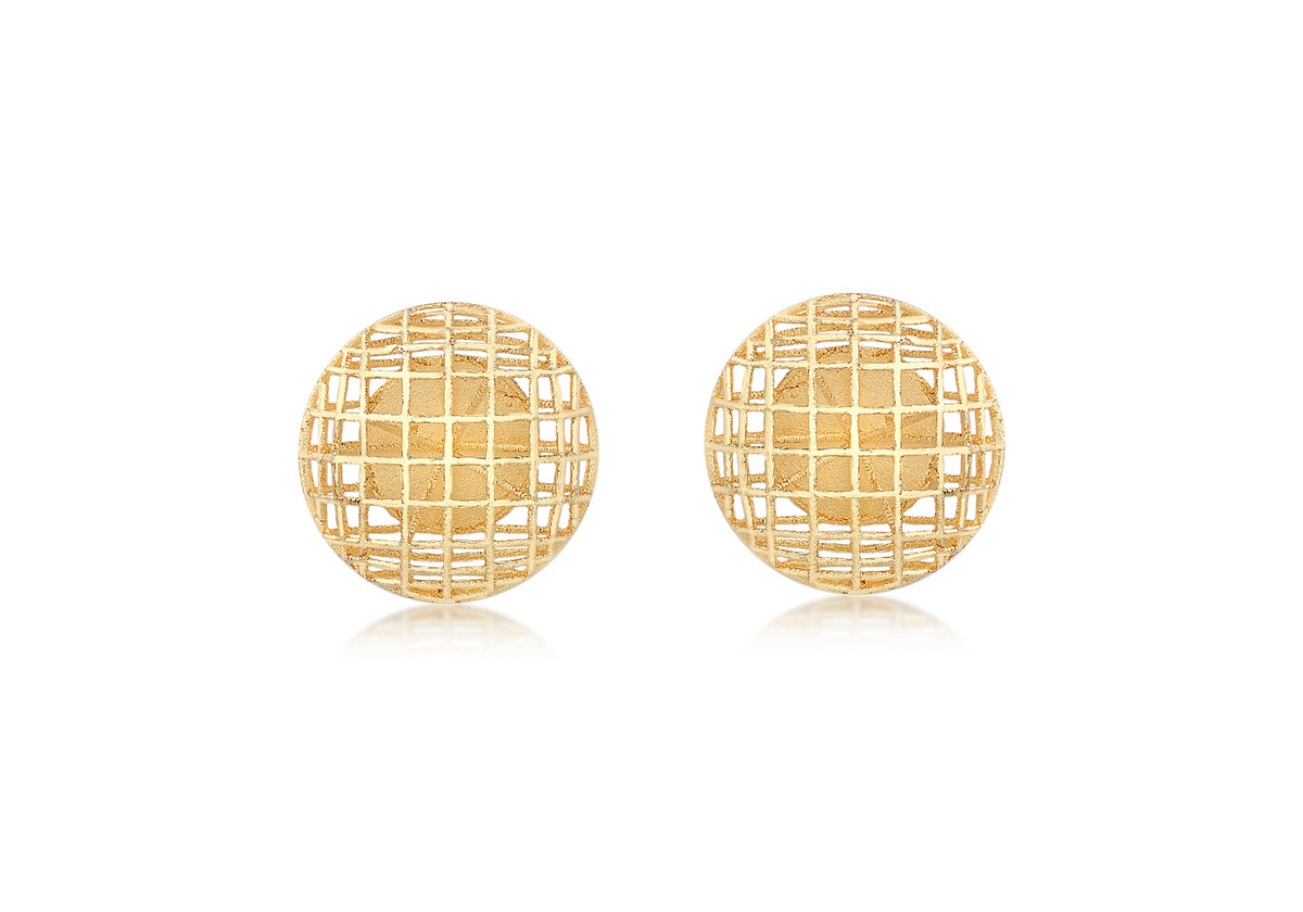 9ct Yellow Gold Filigree Ball Studs