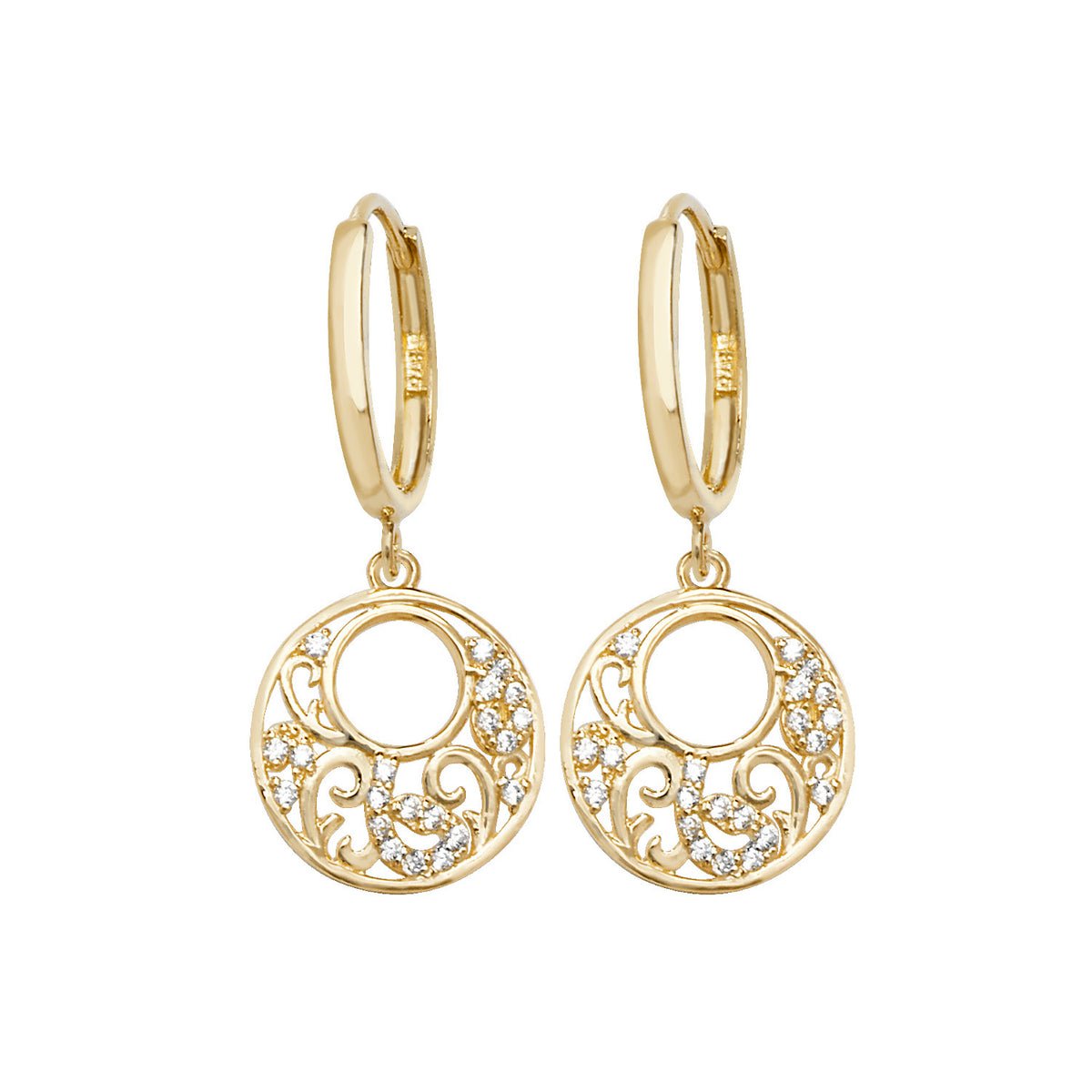 9ct Yellow Gold CZ Drop Earrings