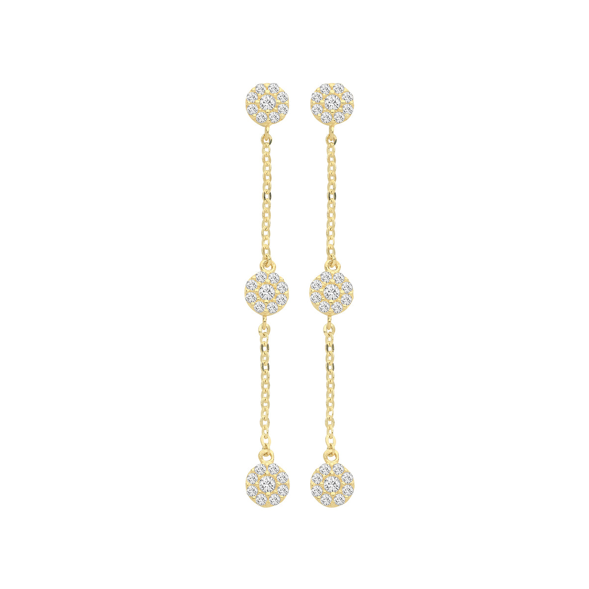 9ct Yellow Gold 3 CZ Circles Drop Earring