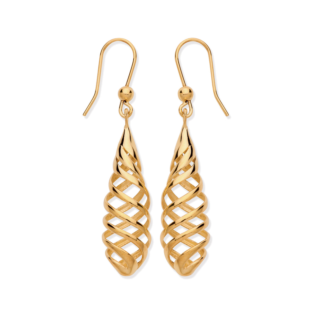 9ct Yellow Gold Fish Hook Drop Earrings