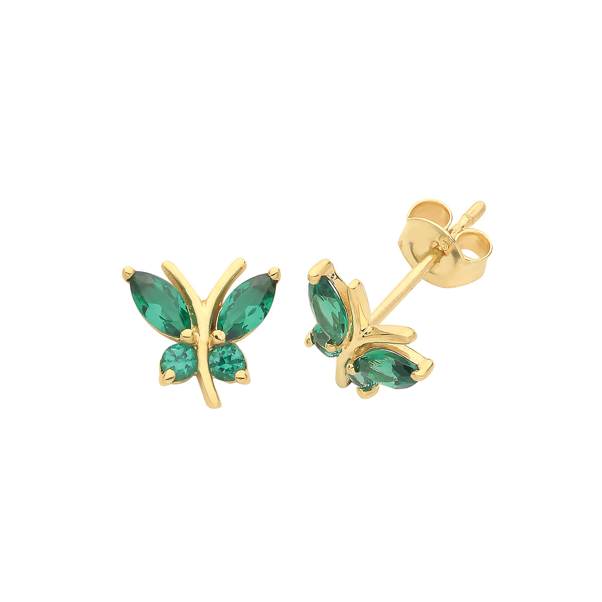 9ct Yellow Gold Emerald Butterfly Stud Earrings