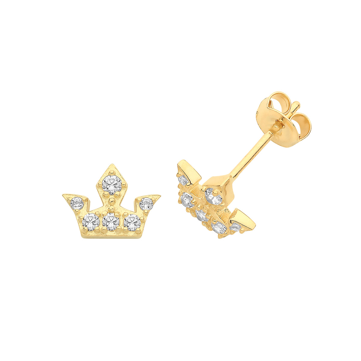 9ct Yellow Gold CZ Crown Stud Earrings