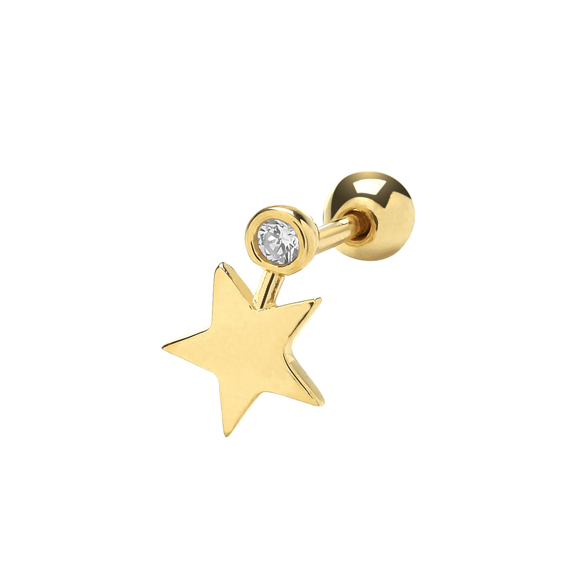 9ct Yellow Gold CZ Star Cartilage Stud 6mm Post