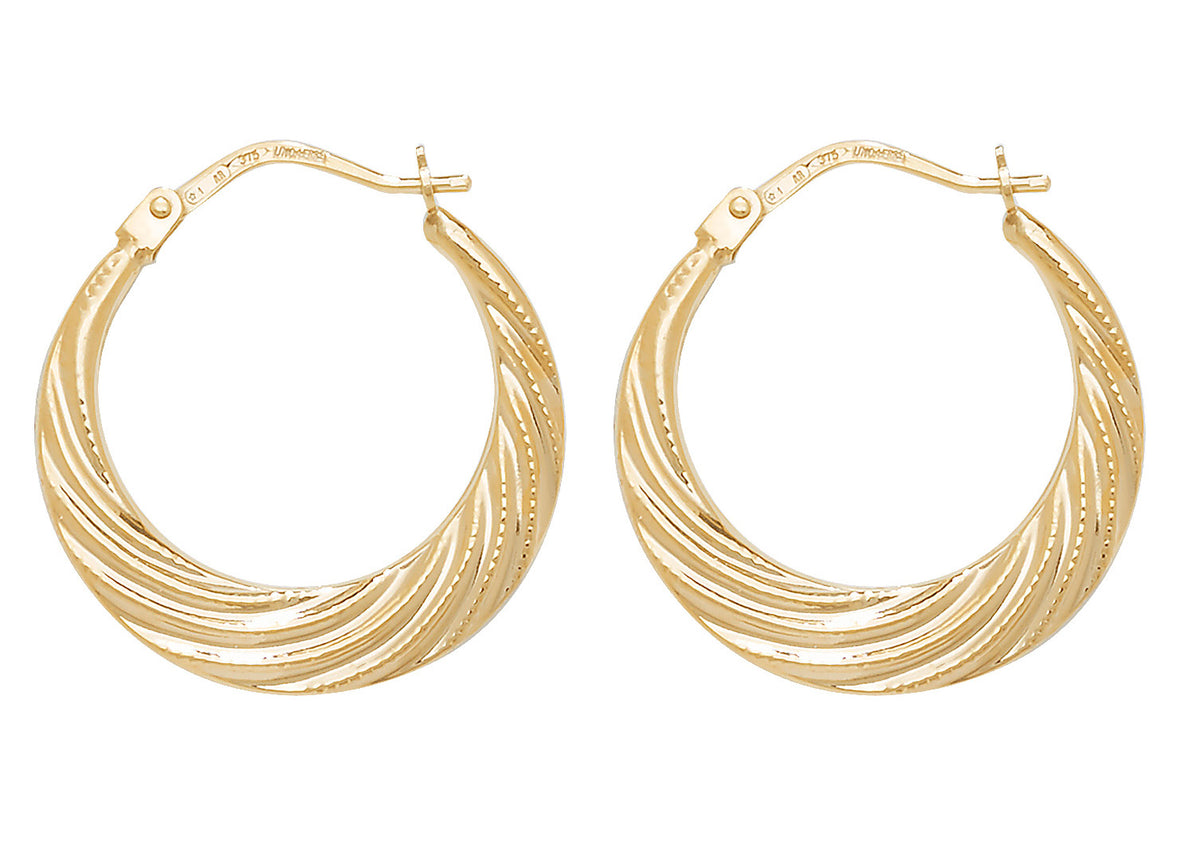 9ct Yellow Gold Round Twist Creole Hoop Earrings