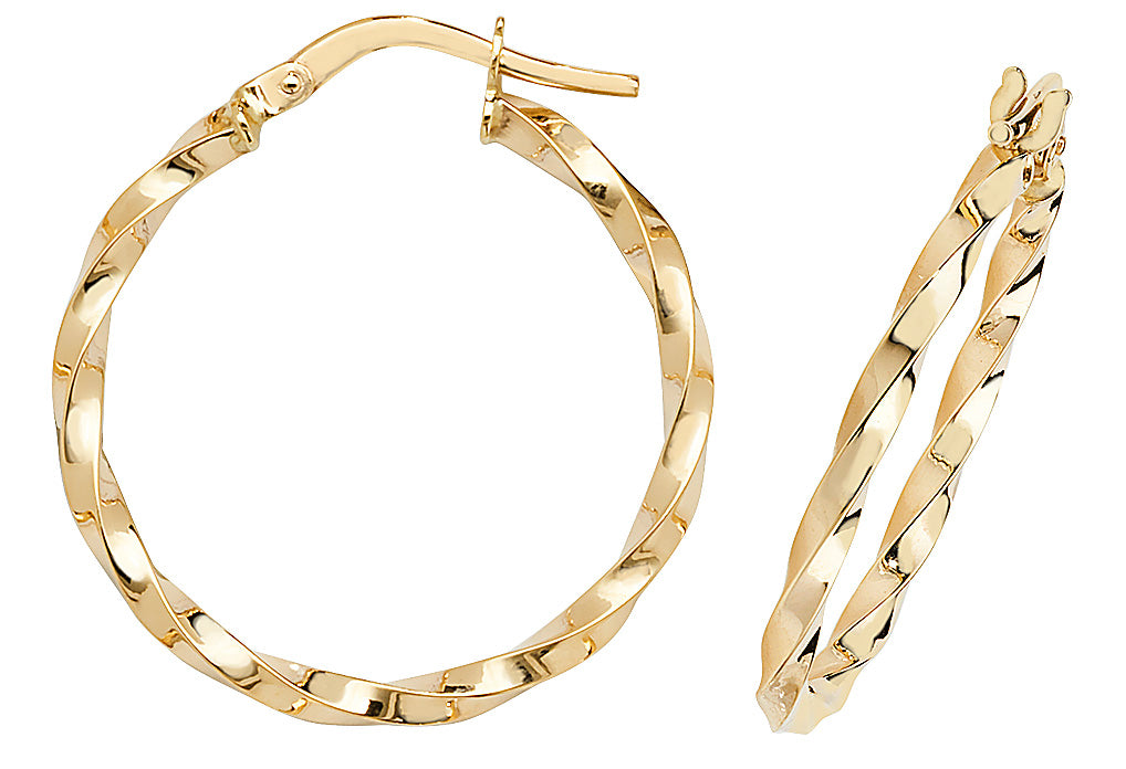 9ct Yellow Gold Twist Creole Hoop Earrings