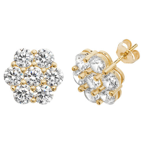 9ct Yellow Gold CZ Flower Stud Earrings