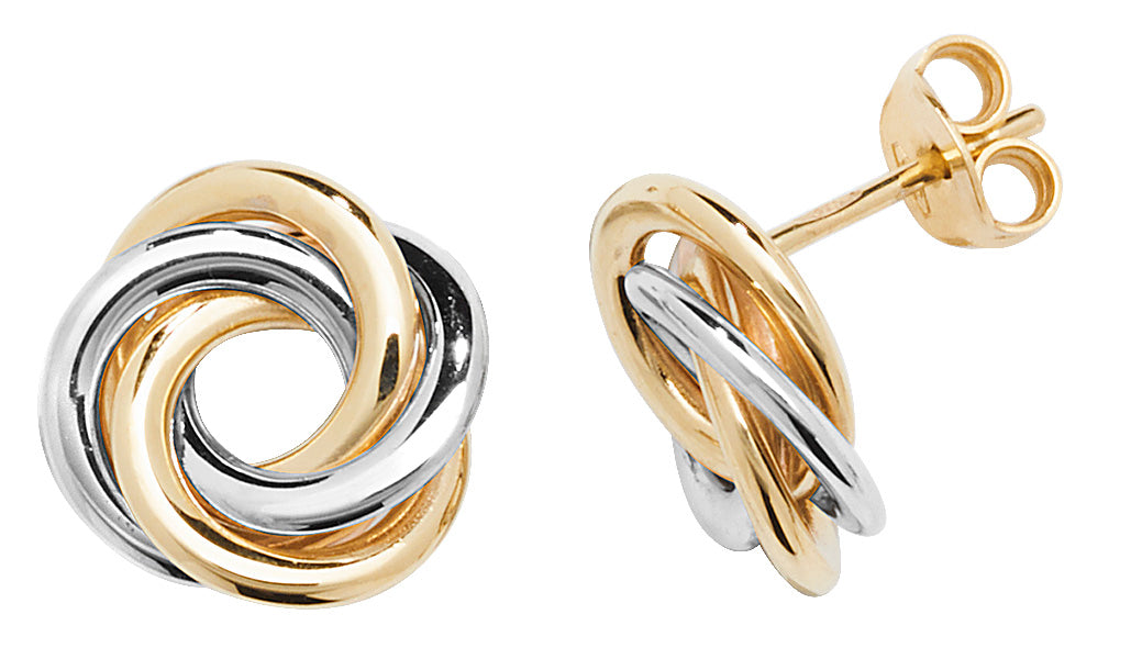 9ct 2-Coloured Gold Interlocking Stud Earrings