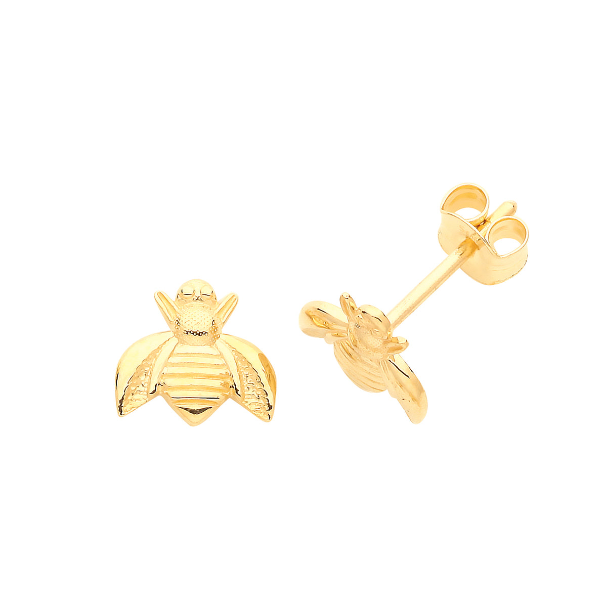 9ct Yellow Gold Bee Stud Earrings