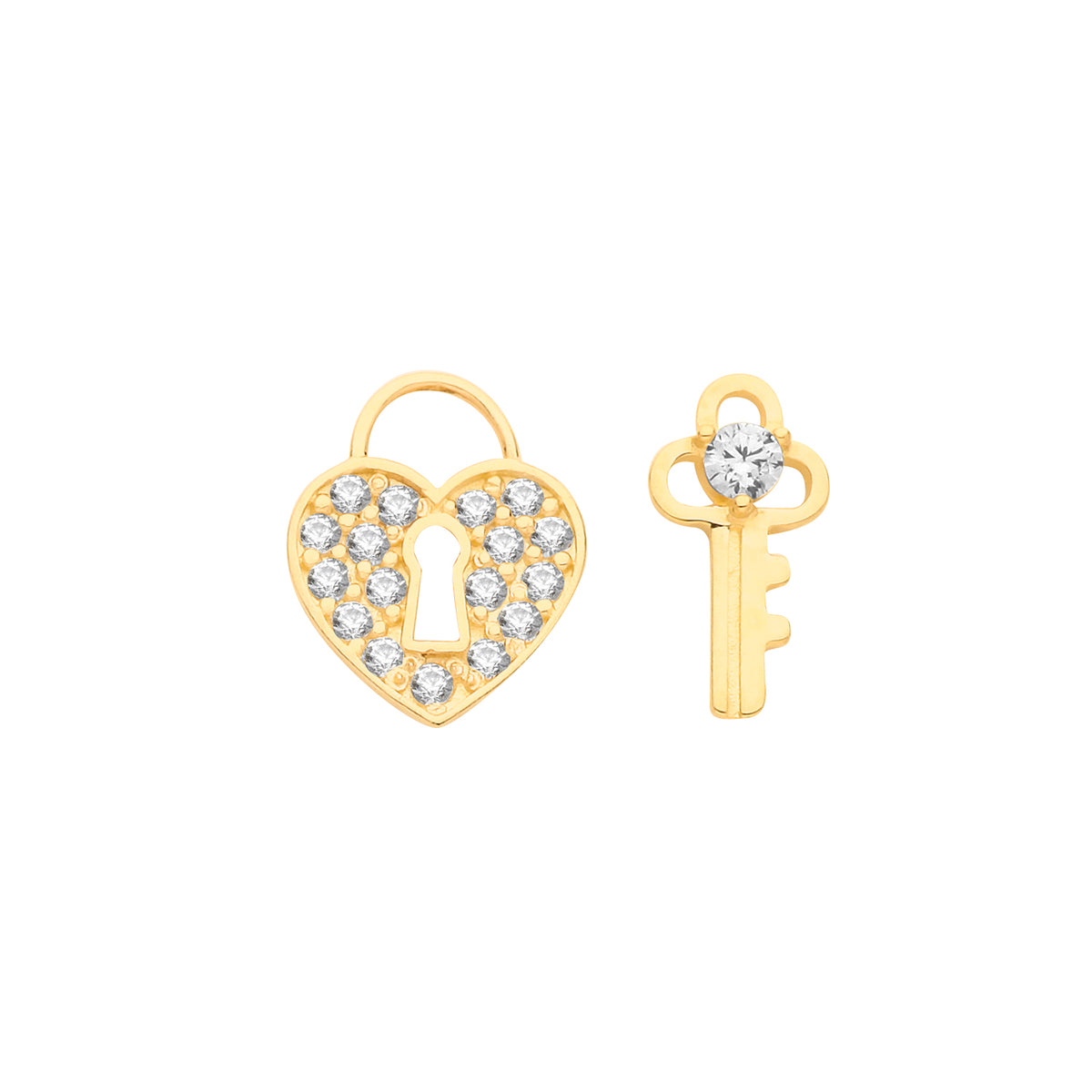 9ct Yellow Gold CZ Heart and Key Stud Earrings