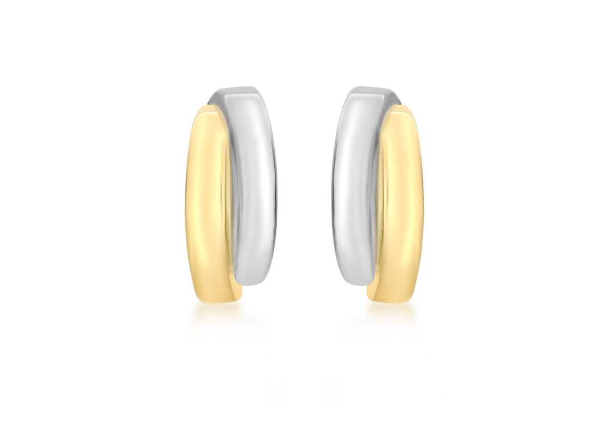 9ct 2 Coloured Gold Overlap Hoop Stud Earrings