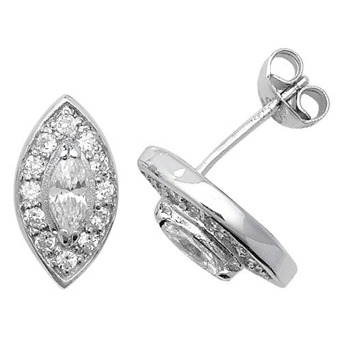 Sterling Silver CZ Set Stud Earrings