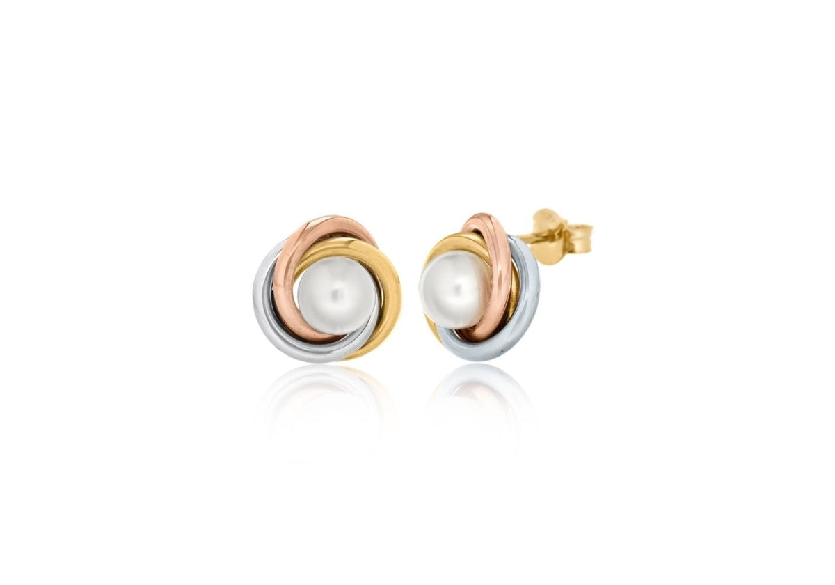 9ct 3 Colored Cultured Pearl Stud Earrings