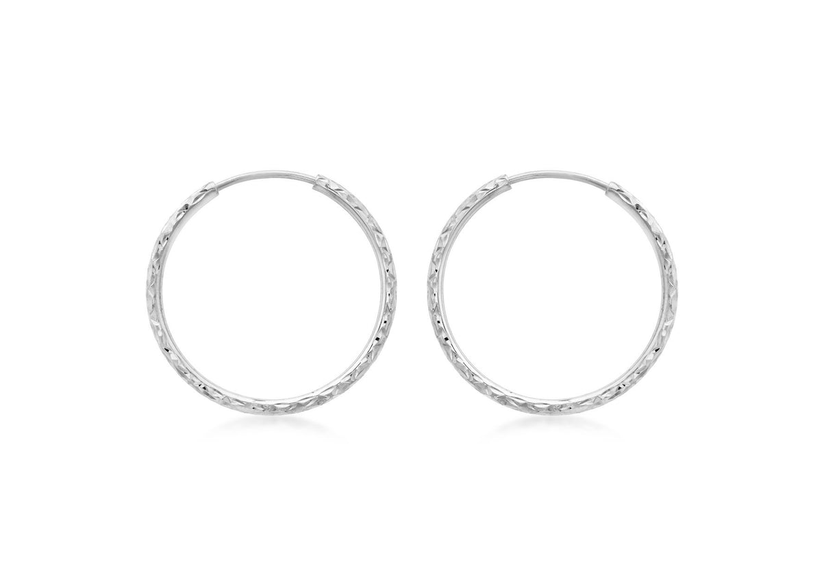 9ct White Gold Diamond Cut Creole Hoop Earrings