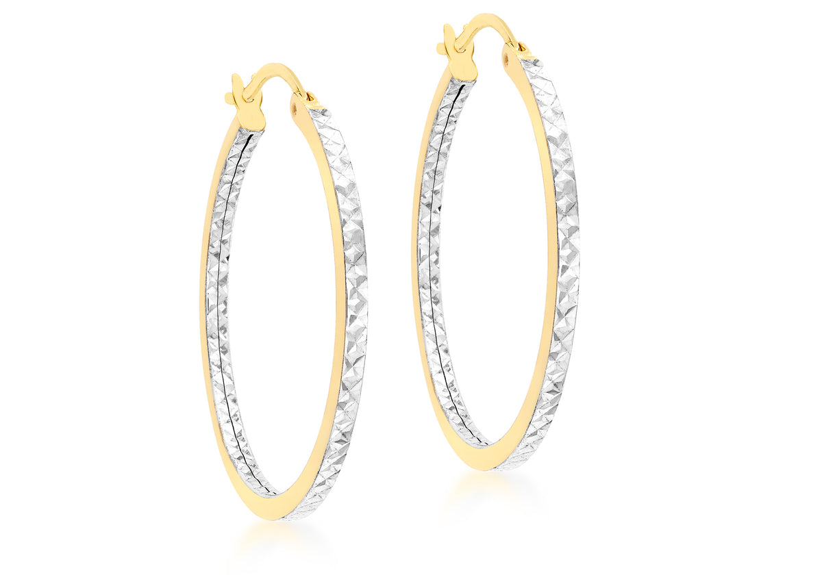 9ct Yellow and White Gold Square Tube Hoop Earrings