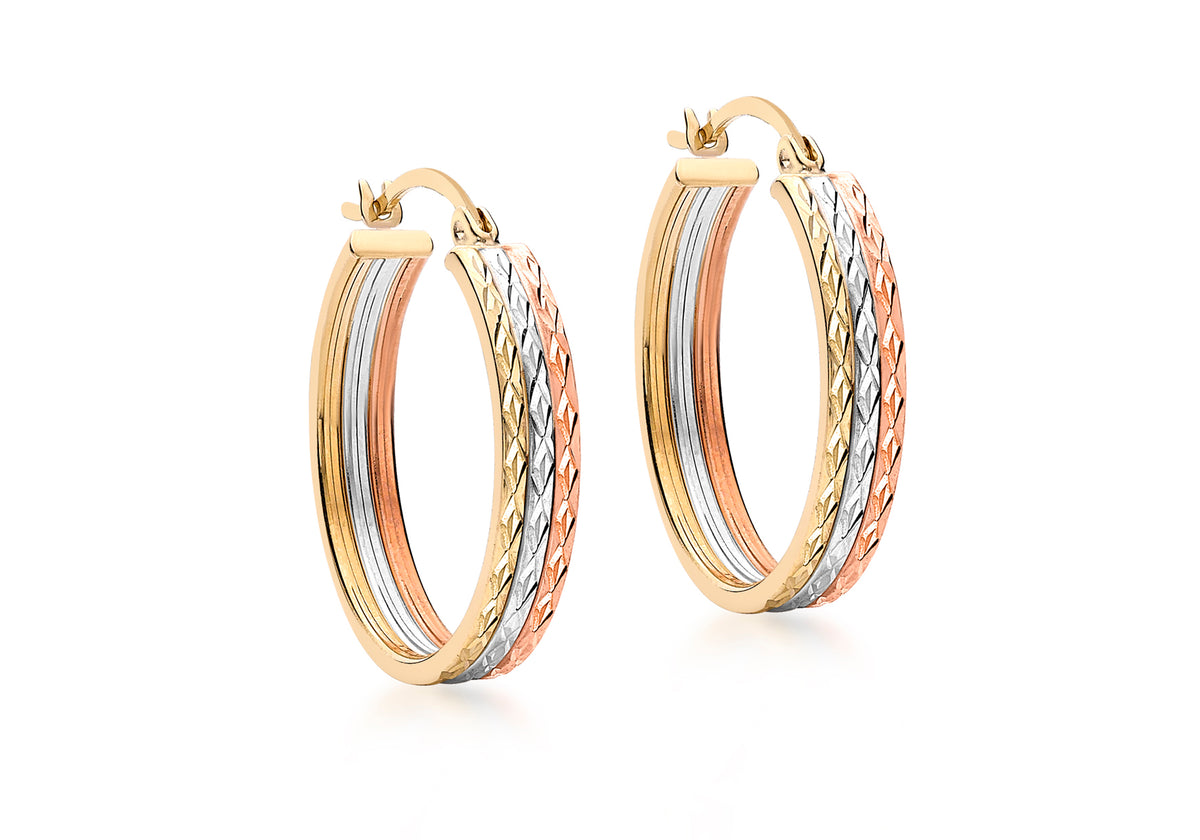 9ct Tri-Coloured Diamond Cut Hoop Earrings
