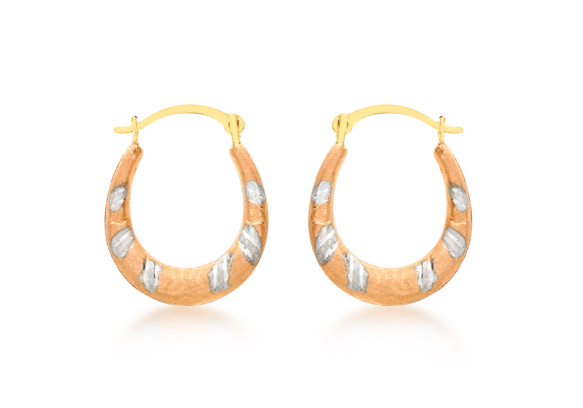 9ct Tri-Coloured Creole Earrings