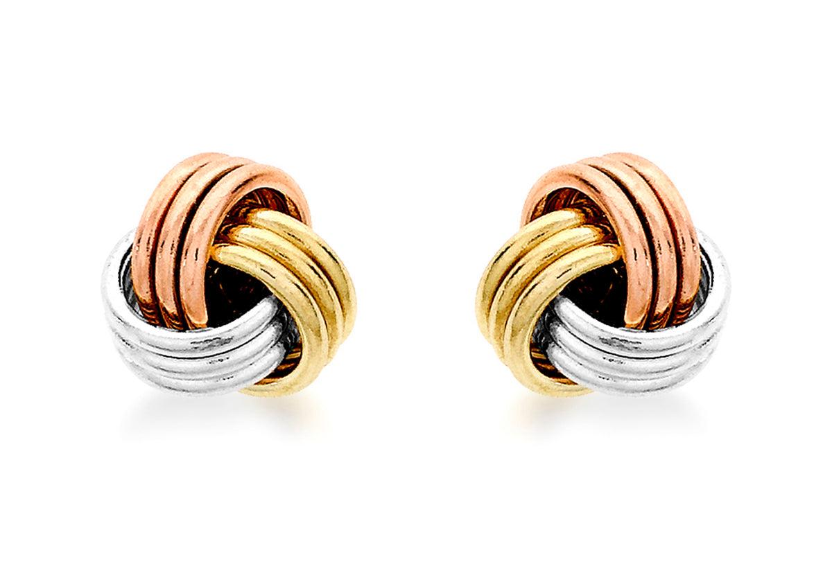 9ct Tri-Coloured Knot Stud Earrings