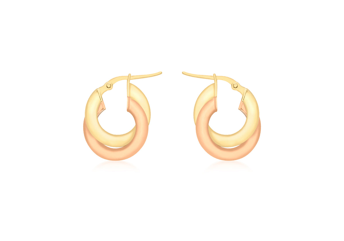 9ct Rose and Yellow Gold Flat Creole Hoop Earrings