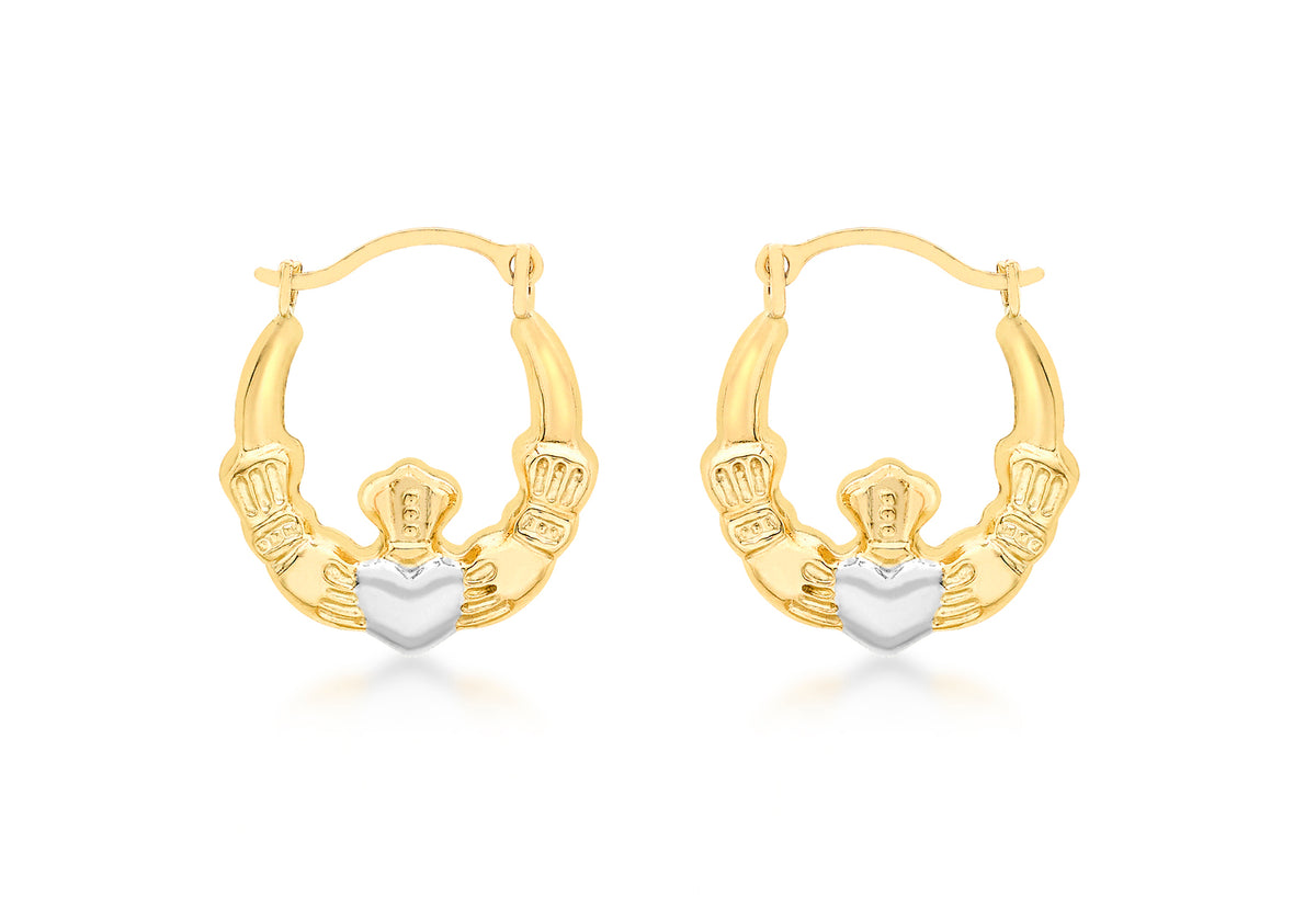 9ct Yellow and White Gold Claddagh Creole Earrings