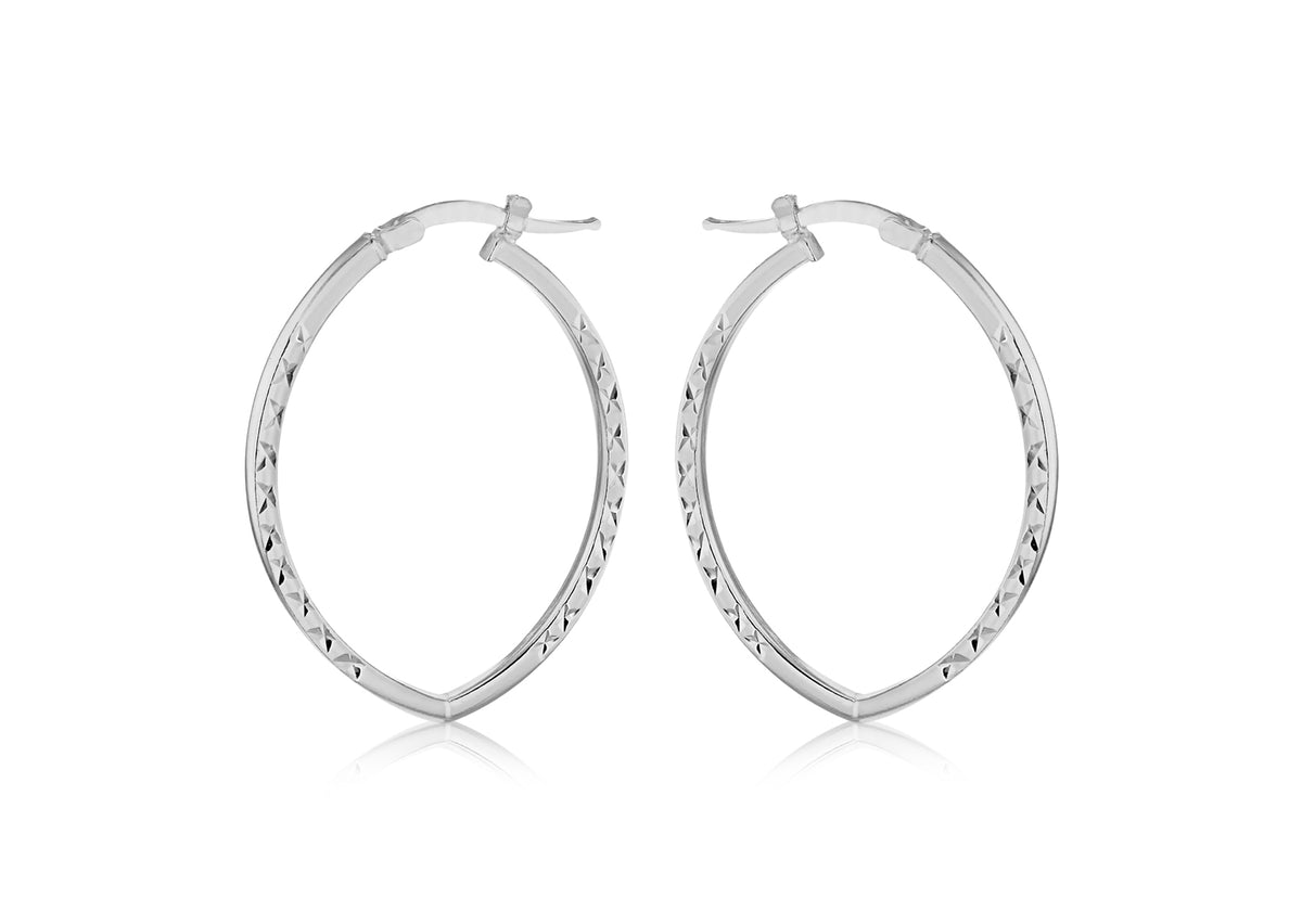 Silver Diamond Cut Patterned Hoop Earrings