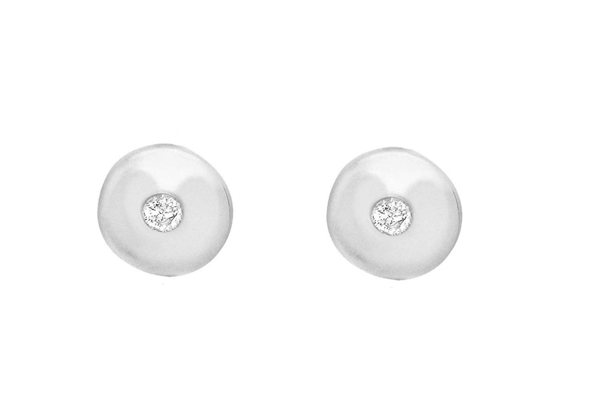 Sterling Silver Diamond Set Disc Studs
