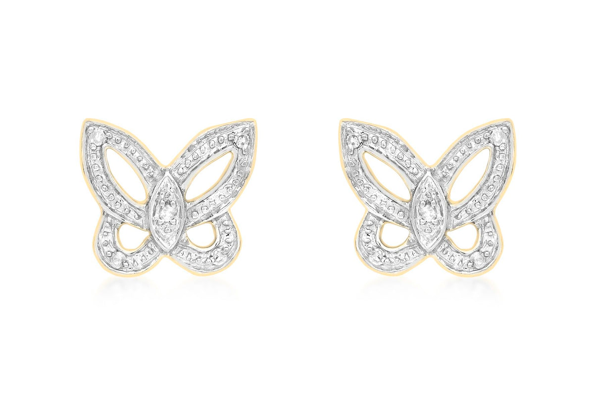 9ct Yellow Gold Diamond Butterfly Stud Earrings 0.05ct