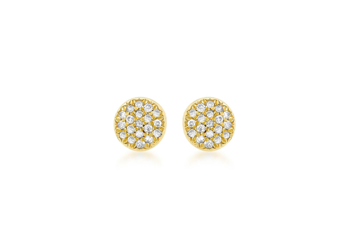 9ct Yellow Gold Pave Set Diamond Stud Earrings 0.10ct