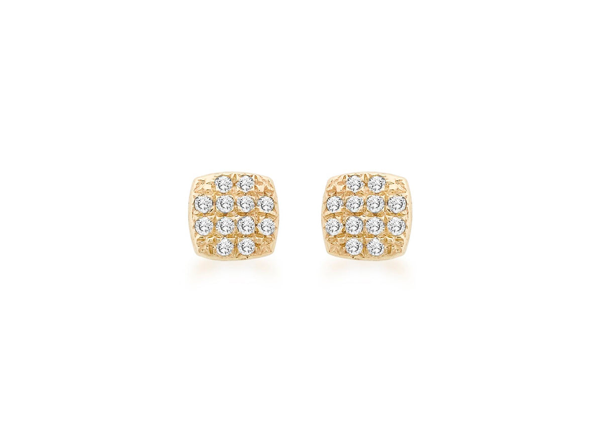9ct Yellow Gold Diamond Cushion Stud Earrings 0.10ct