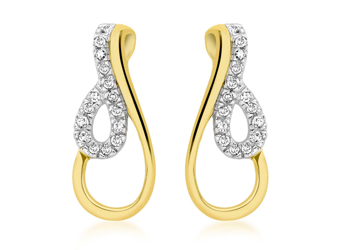9ct 2 Colour Gold Diamond Twist Drop Earrings