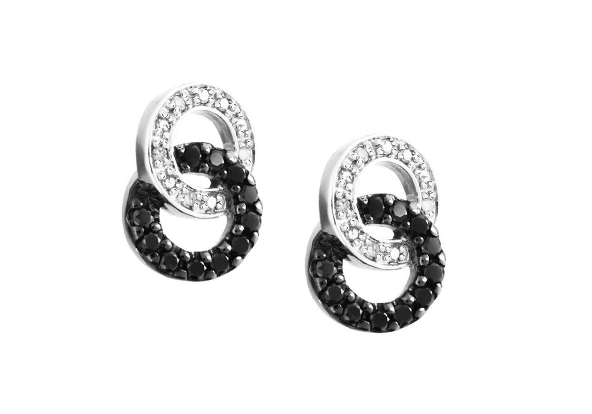 9ct White Gold Black and White Diamond Earrings