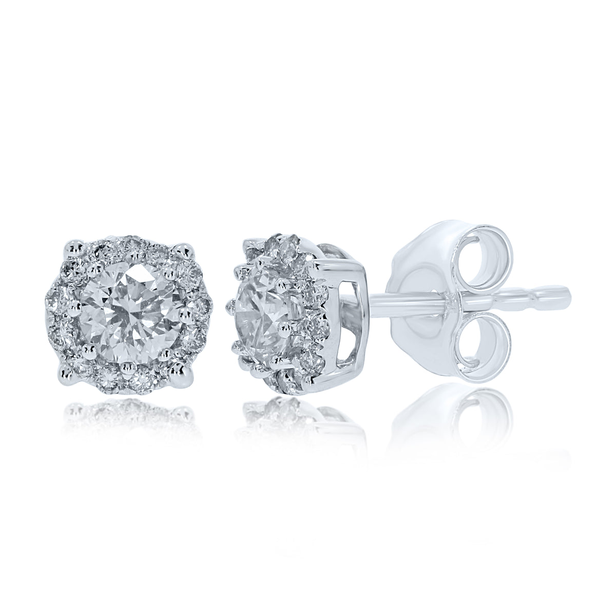 9ct White Gold 0.50ct Diamond Halo Earrings