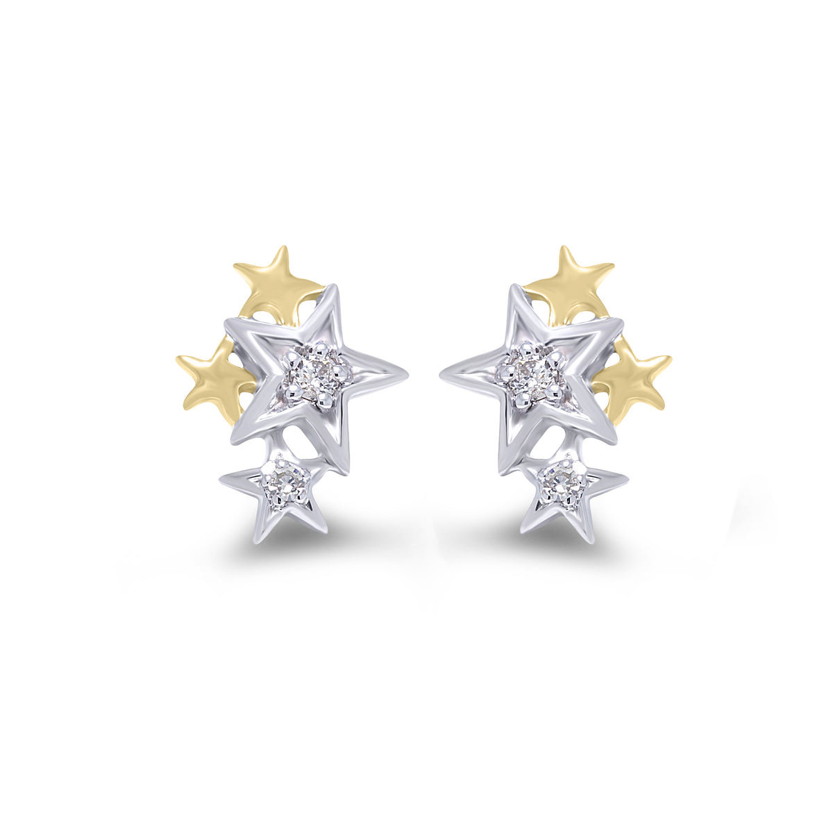 9ct White and Yellow Gold  Diamond Star Earrings