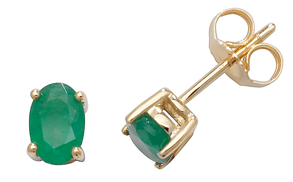 9ct Yellow Gold Oval Emerald Stud Earrings